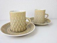 KRONJYDEN(クロニーデン) Relief/Leafシリーズ コーヒーカップ&ソーサー 2客